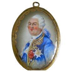 Antique 19th Century French Enamel Portrait of Louis XVI Framed Porcelain  Plaque