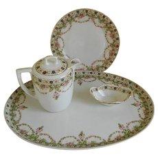 Antique M Z Austria Tray, Plate, Salt Cellar, and Small Tea Pot 1884 -1909