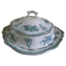 Antique W H Grindley and Company, England Transferware  Butter Dish with Lid