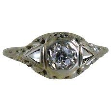 Art Deco 14 k White Gold Miner's Cut  Diamond Ring