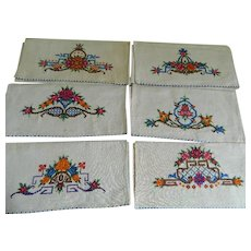 Art Deco Cross Stitch Hand Made Napkins or Hand Towels, Set of Six
