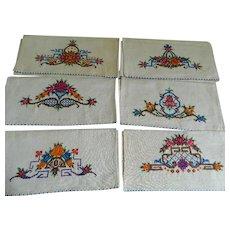 Art Deco Cross Stitch Hand Made Napkins or Hand Towels, Set of Six