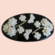 1920's Black and White Celluloid Belt Buckle