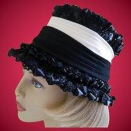 Vintage 1960's Black and White Doris Designed Hat