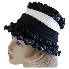 f8667a8668ef Vintage 1960 s Black and White Doris Designed Hat. Lady Lavender Antiques