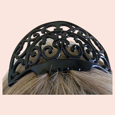 Art Deco Black Celluloid Hair Comb