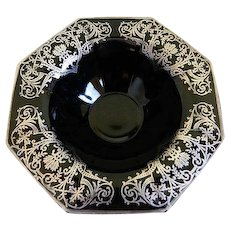 Antique  Black Opaque Glass Octagonal Sided Footed Bowl with Sterling Silver Overlay Design