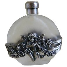 Vintage Frosted Glass Perfume Bottle with Metal Overlay