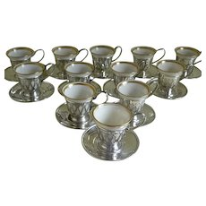Set of 12 Lenox Demitasse Cups, Meriden Silver Sterling Silver Cup Holders and Saucers