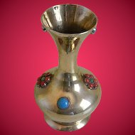 Vintage Brass Vase with Turquoise, Coral Colored Cabochons, 1970's