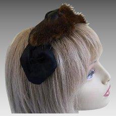 Vintage Mink and Black Silk Hat, 1960's