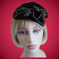 Vintage Black Felt Hat Made by Opera, Italy, 1960's