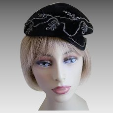 Vintage Black Felt Hat Made by Opera, Italy, 1960's