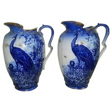 Antique, Rare Pair of Thomas Furnival and Sons, Limited , England,  Large  Flow Blue Pitchers