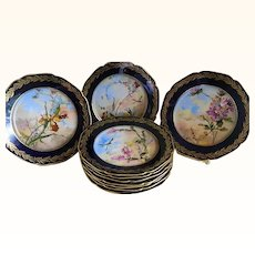 Antique Haviland and Company, Limoges Hand Painted Plates, Set of 10