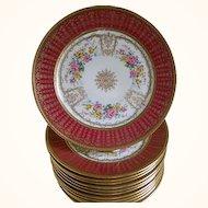 C. Ahrenfeldt, Limoges, Set of 12 Plates, 1894 until 1930's