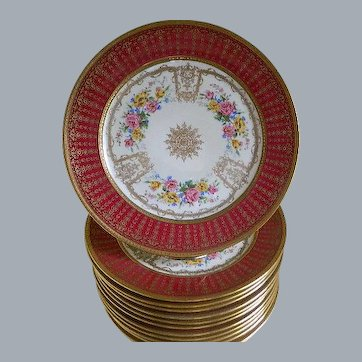 Holiday Sales!  C. Ahrenfeldt, Limoges, Set of 12 Plates, 1894 until 1930's