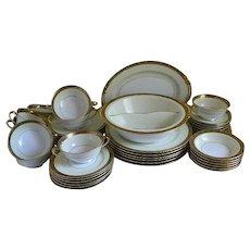 Set of 46 Noritake China, Pattern Goldkin, U.S. Patented 100332, 1930's