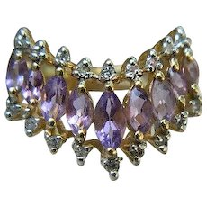 Vintage 14 K Yellow Gold Ring with Amethysts and Diamonds