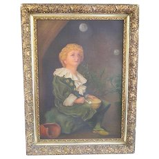 Antique Boy with Bubbles Painting Framed 1902 A. Archibald Painted In His Fashion