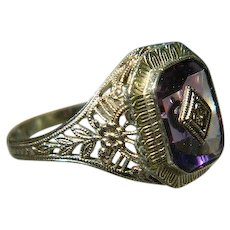 Art Deco, 14 K White Gold Amethyst with Diamond Ring