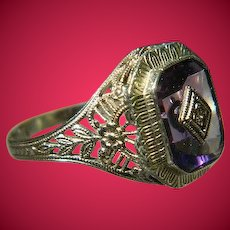 Art Deco, 14 K White Gold Amethyst with Diamond Ring