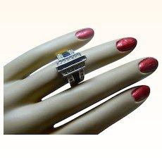 Art Deco Style Vintage Enamel 18 K  HGE Yellow Gold Ring