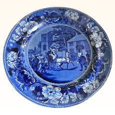 Antique Clews Historical Plate Titled Dr. Syntax Taking Possession of His Living