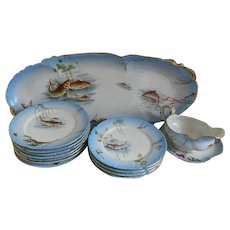 Antique William Guerin and Company Limoges France Fish Plate Set, 14 pcs
