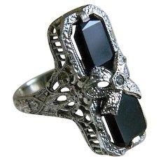 Art Deco 14k White Gold Onyx with Center Diamond Ring