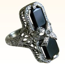 Art Deco 14k White Gold Onyx with Center Diamond Ring, J J White, Providence, R I
