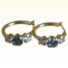 Vintage 14k Hoop Pierced Earrings with Simulated Aqua Marine and Cubic Zirconia