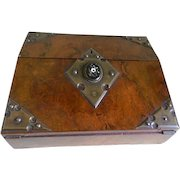 English Victorian 1880's Lap Desk with a Center Oval Pietra Dura and Neo-Gothic Mountings