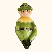 Vintage Crown English Collection Hand Made, Hand Painted Fine Bone China Leprechaun Pin