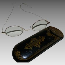 Victorian 14k Yellow Gold Eyeglasses with Lacquer Papier Mache  Case