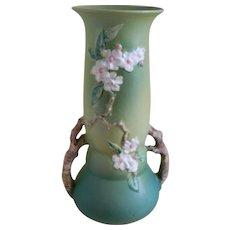 Vintage Large Roseville Pottery Apple Blossom Green Vase 392-15, 1948