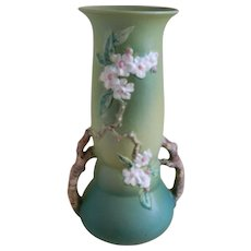 Vintage Large Roseville Pottery Apple Blossom Green Vase 392-15, 1948
