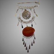 Art Nouveau Agate and Sun Pin