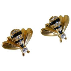 Vintage Pair of Gold Tone and Black Enamel Bee Pins with Clear Rhinestones