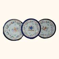 Antique 1890 Heraldic Coat of Arms Wedding Plates Set