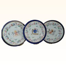 Antique 1890 Heraldic Coat of Arms Wedding Plates Set