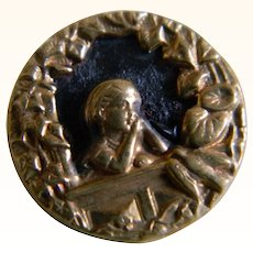 Victorian Brass with Black Enamel Button of Girl Praying in Window