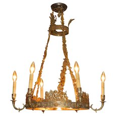 Antique French Brass Chandelier