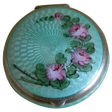 Art Deco Guilloche Enamel Powder and Rouge Compact
