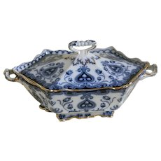 Antique Ford and Sons Burslem, England, Flow Blue Hexagon Serving Bowl with Lid