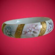 Vintage Porcelain Bangle Bracelet, Artist signed, A. Hogan