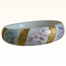Vintage Porcelain Bangle Bracelet, Artist signed, A. Hogan