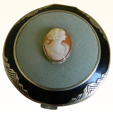 Art Deco Black Enamel Compact with Cameo