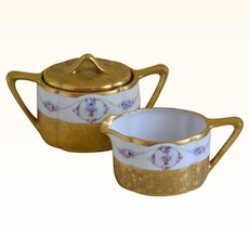 Pickard Creamer and Sugar Etched China, 1912 until 1925