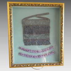 1920's Wedding Purse and Garters in Hanging Framed Memory Box